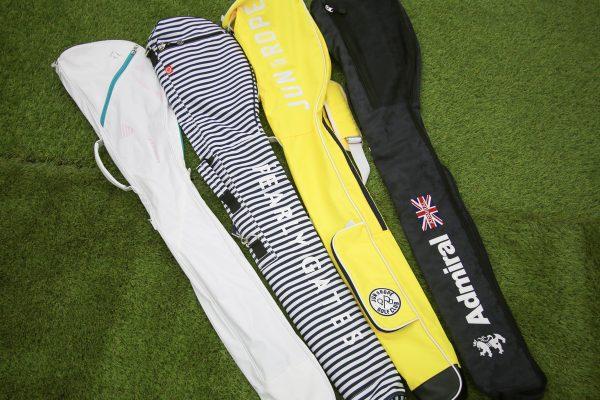 ゴルフクラブケース4種類。テーラーメイド、パーリーゲイツ、ジュン&ロペ、アドミラル。